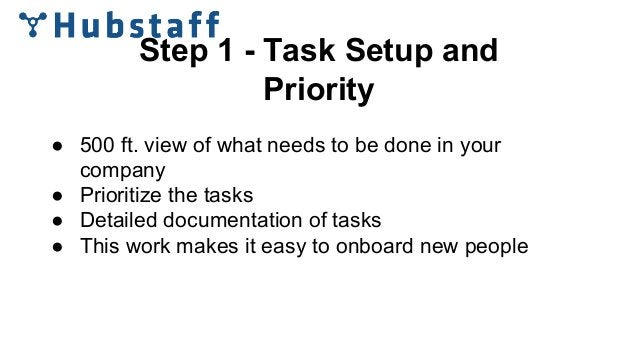 Step 1 - Task Setup and Priority ● 500 ft. view of what needs to be done in your company ● Prioritize the tasks ● Detailed...