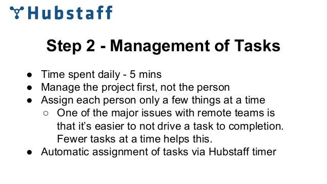 Step 2 - Management of Tasks ● Time spent daily - 5 mins ● Manage the project first, not the person ● Assign each person o...