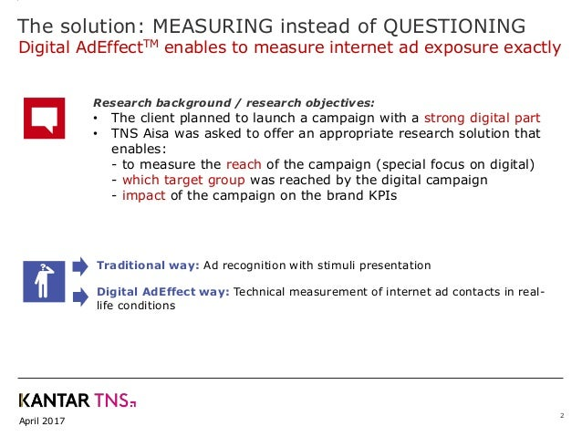 April 2017 2 Research background / research objectives: • The client planned to launch a campaign with a strong digital pa...
