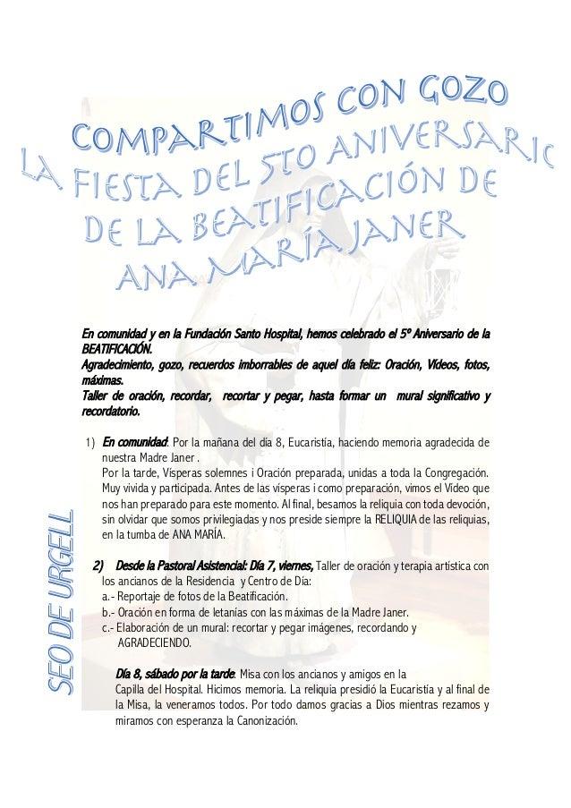 En comunidad y en la Fundación Santo Hospital, hemos celebrado el 5º Aniversario de la BEATIFICACIÓN. Agradecimiento, gozo...