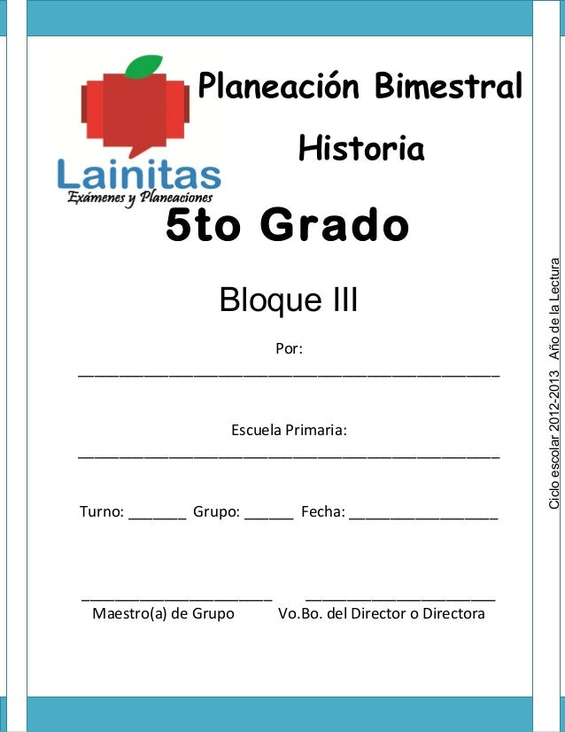 Planeación Bimestral                            Historia           5to Grado                                              ...