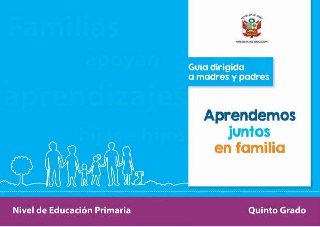 """f)"""" '¡EL á MINISTERIO n:  muuacm  Aprendemos  en familia  Nivel de Educación Primaria Quinto Grado"""