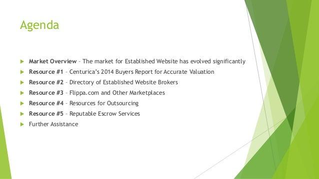 Agenda  Market Overview – The market for Established Website has evolved significantly  Resource #1 – Centurica's 2014 B...