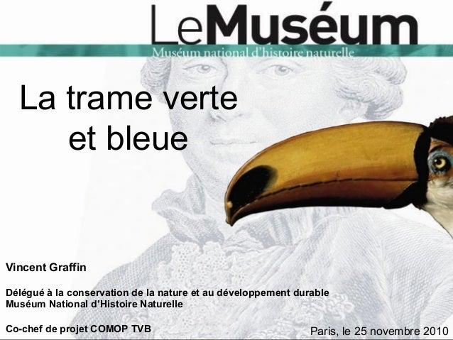 La trame verte et bleue Vincent Graffin Délégué à la conservation de la nature et au développement durable Muséum National...