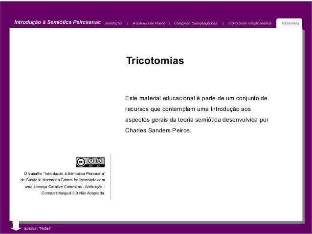 Introdução à Semiótica Peirceanac                   Introdução       Arquitetura de Peirce       Categorias Cenopitagórica...