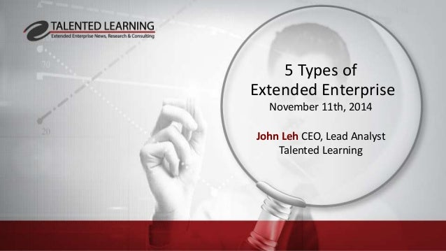 5 Types of  Extended Enterprise  November 11th, 2014  John Leh CEO, Lead Analyst  Talented Learning