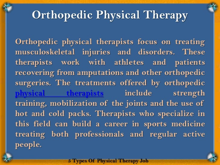 5 Types Of Physical Therapy Job