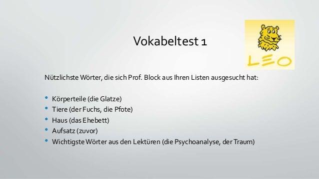 Nützlichste Wörter, die sich Prof. Block aus Ihren Listen ausgesucht hat: • Körperteile (die Glatze) • Tiere (der Fuchs, d...