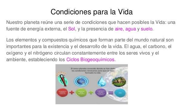 Condiciones para la Vida Nuestro planeta reúne una serie de condiciones que hacen posibles la Vida: una fuente de energía ...