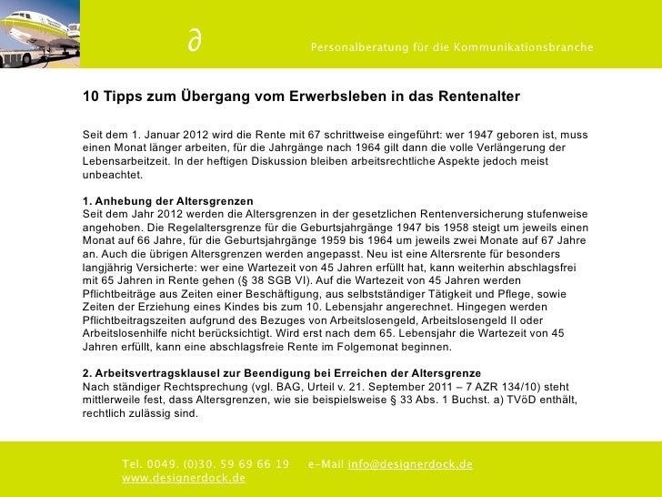 ∂                        Personalberatung für die Kommunikationsbranche10 Tipps zum Übergang vom Erwerbsleben in das Rente...