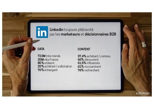 Linkedin toujours plébiscité par les marketeurs et décisionnaires B2B DATA 722M mbs monde 20M mbs France 85% utilisent 20%...