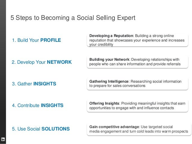 5 Steps to Becoming a Social Selling Expert  1. Build Your PROFILE  Developing a Reputation: Building a strong online repu...