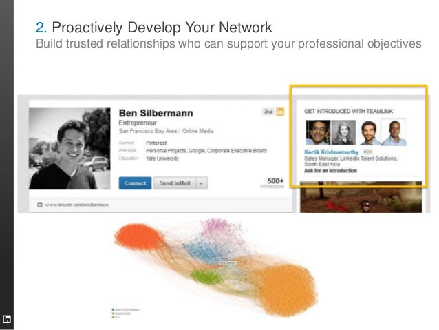 2. Proactively Develop Your Network Build trusted relationships who can support your professional objectives