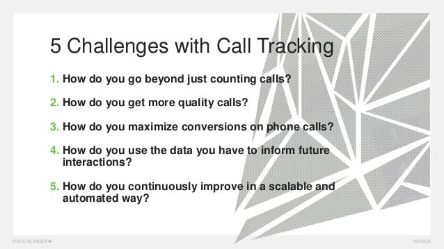 5 Challenges with Call Tracking 1. How do you go beyond just counting calls? 2. How do you get more quality calls? 3. How ...