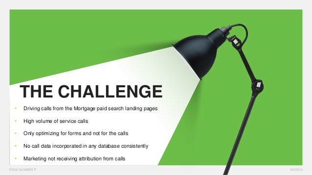 THE CHALLENGE • Driving calls from the Mortgage paid search landing pages • High volume of service calls • Only optimizing...
