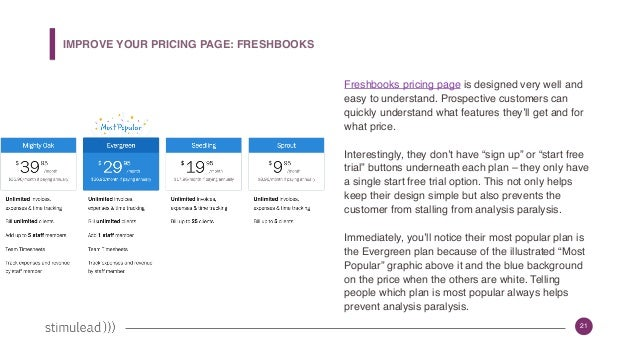 21 Freshbooks pricing page is designed very well and easy to understand. Prospective customers can quickly understand what...