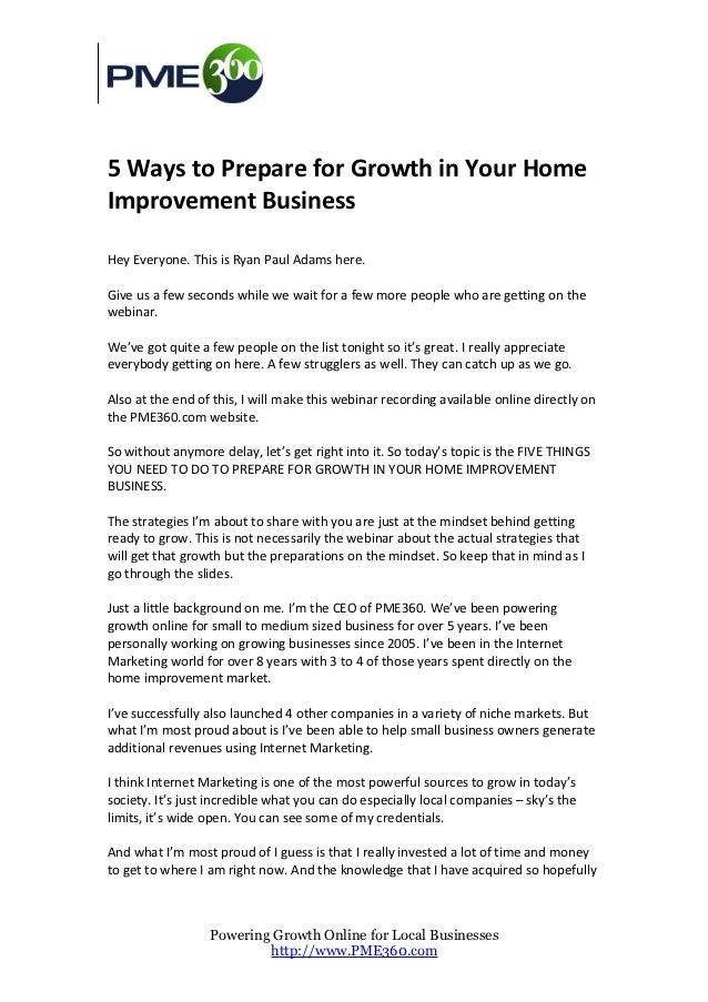 5 Ways to Prepare for Growth in Your HomeImprovement BusinessHey Everyone. This is Ryan Paul Adams here.Give us a few seco...