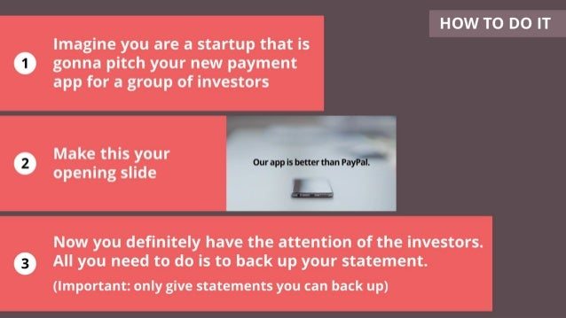 Imagine you are a startup that is gonna pitch your new payment app for a group of investors Make this your opening slide N...