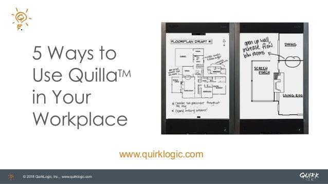 © 2018 QuirkLogic, Inc., www.quirklogic.com 5 Ways to Use QuillaTM in Your Workplace www.quirklogic.com