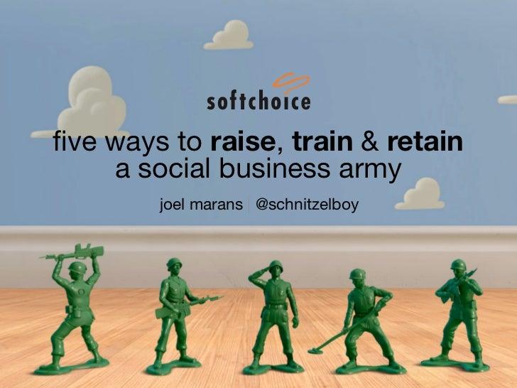 five ways to raise, train & retain    a social business army        joel marans | @schnitzelboy
