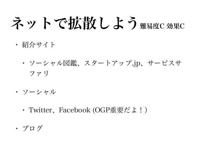 ネットで拡散しよう難易度C 効果C • 紹介サイト • ソーシャル図鑑、スタートアップ.jp、サービスサ ファリ • ソーシャル • Twitter、Facebook (OGP重要だよ!) • ブログ