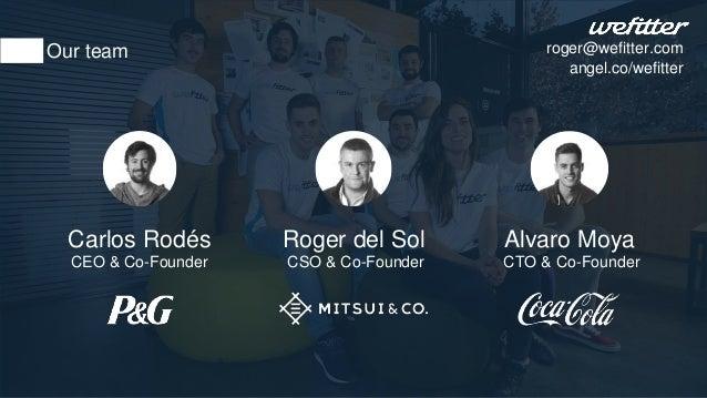 Carlos Rodés CEO & Co-Founder Roger del Sol CSO & Co-Founder Alvaro Moya CTO & Co-Founder Our team roger@wefitter.com ange...