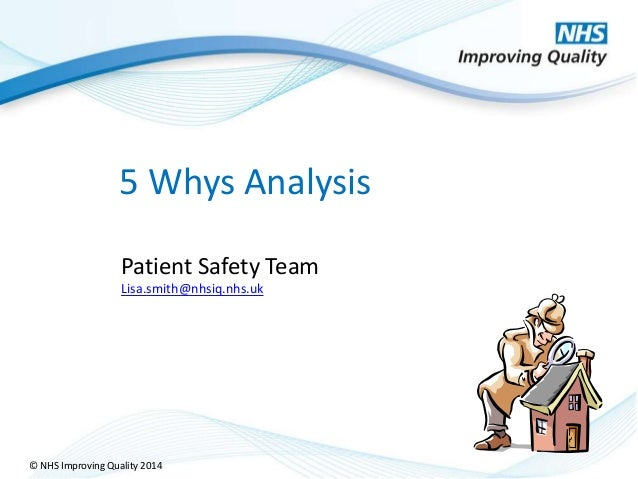 © NHS Improving Quality 2014 5 Whys Analysis Patient Safety Team Lisa.smith@nhsiq.nhs.uk