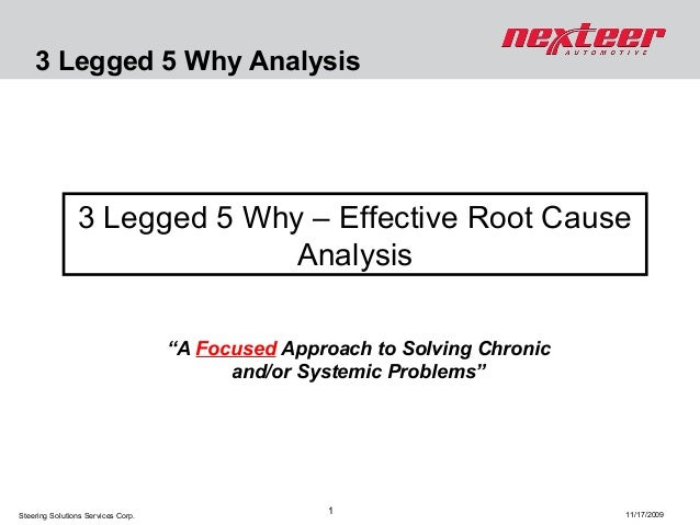 """3 Legged 5 Why Analysis  3 Legged 5 Why – Effective Root Cause Analysis """"A Focused Approach to Solving Chronic and/or Syst..."""