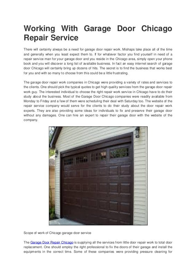 Working With Garage Door Chicago Repair Service There Will Certainly Always  Be A Need For Garage ...