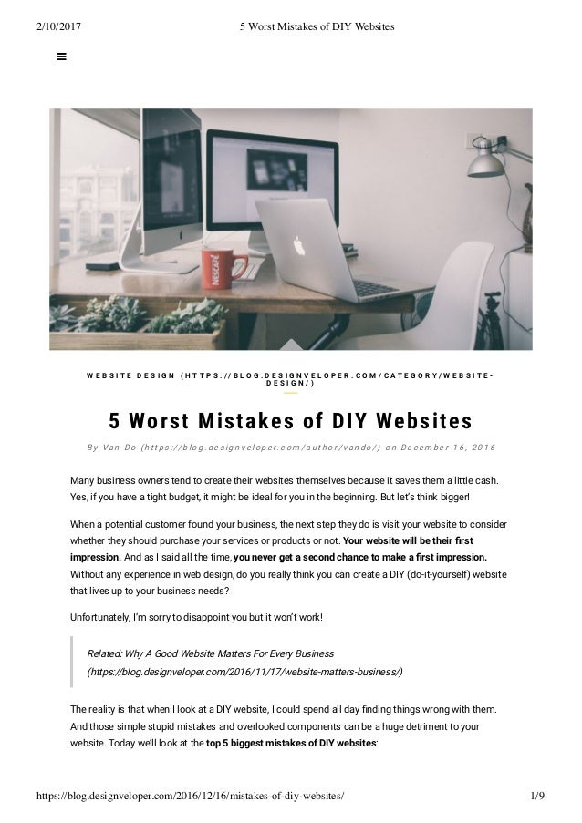 5 worst mistakes of diy websites