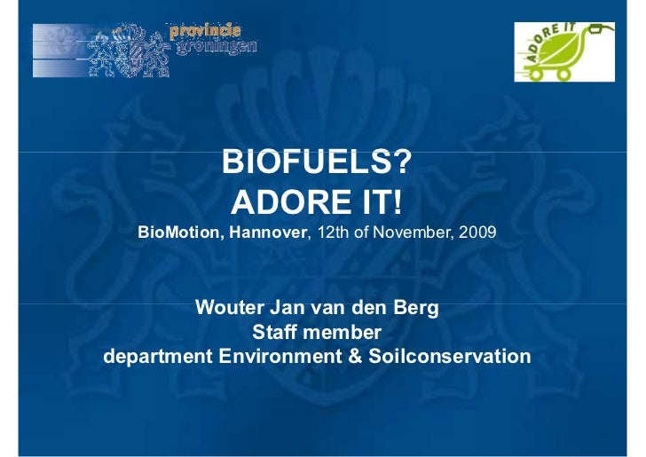 BIOFUELS?              ADORE IT!    BioMotion, Hannover, 12th of November, 2009            Wouter Jan van den Berg        ...
