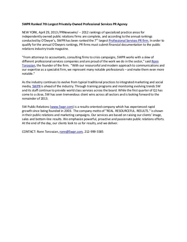 5WPR Ranked 7th Largest Privately-Owned Professional Services PR AgencyNEW YORK, April 29, 2013 /PRNewswire/ -- 2012 ranki...