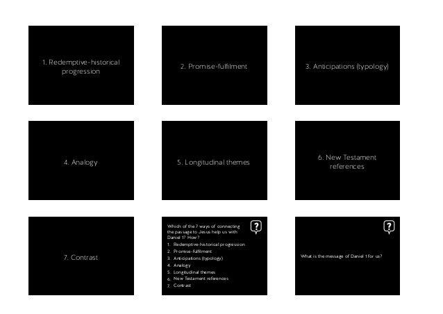 1. Redemptive-historical progression 2. Promise-fulfilment 3. Anticipations (typology) 4. Analogy 5. Longitudinal themes 6....