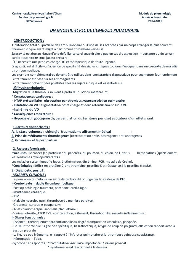 Centre hospitalo-universitaire d'Oran Module de pneumologie Service de pneumologie B Année universitaire DR Sahraoui 2014-...