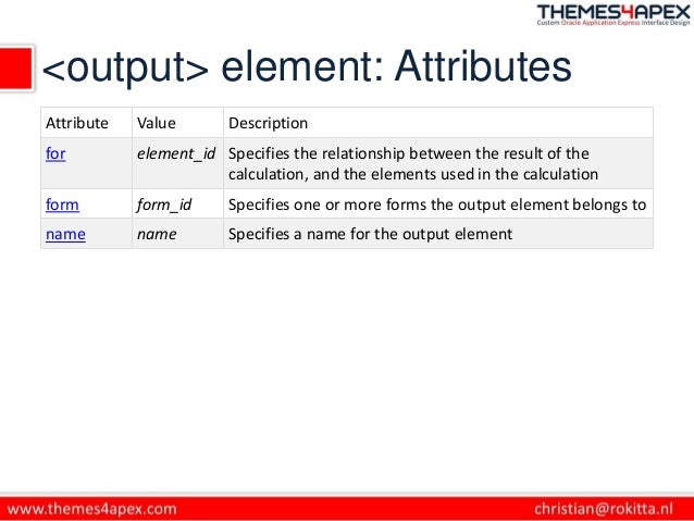 <output> element: Attributes Attribute Value Description for element_id Specifies the relationship between the result of t...