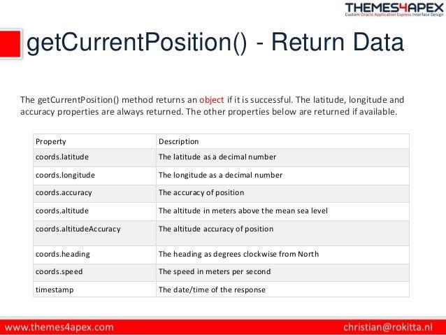 getCurrentPosition() - Return Data Property Description coords.latitude The latitude as a decimal number coords.longitude ...