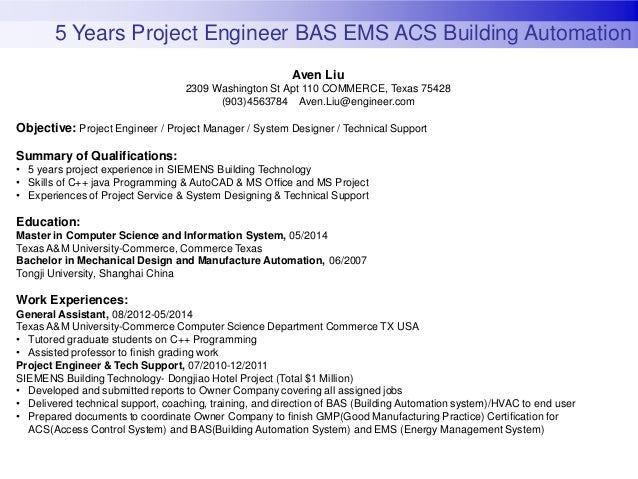 5 years project engineer bas ems acs building automation