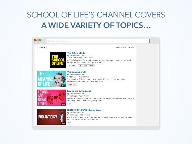 https://www.youtube.com SCHOOL OF LIFE'S CHANNEL COVERS A WIDE VARIETY OF TOPICS…