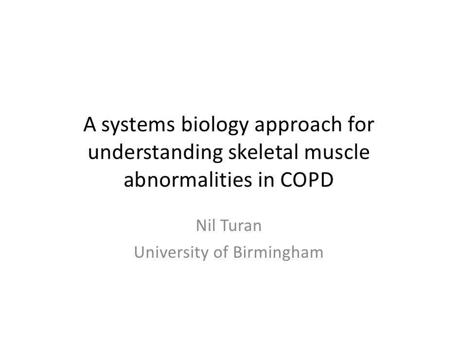 A systems biology approach forunderstanding skeletal muscle    abnormalities in COPD             Nil Turan     University ...