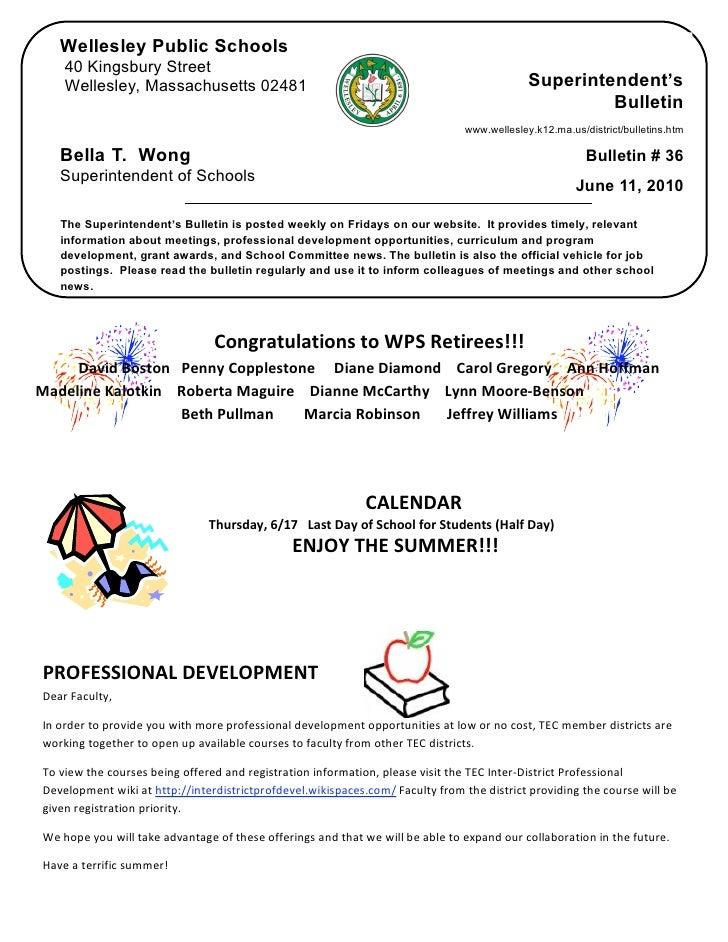 Wellesley Public Schools      40 Kingsbury Street      Wellesley, Massachusetts 02481                                     ...