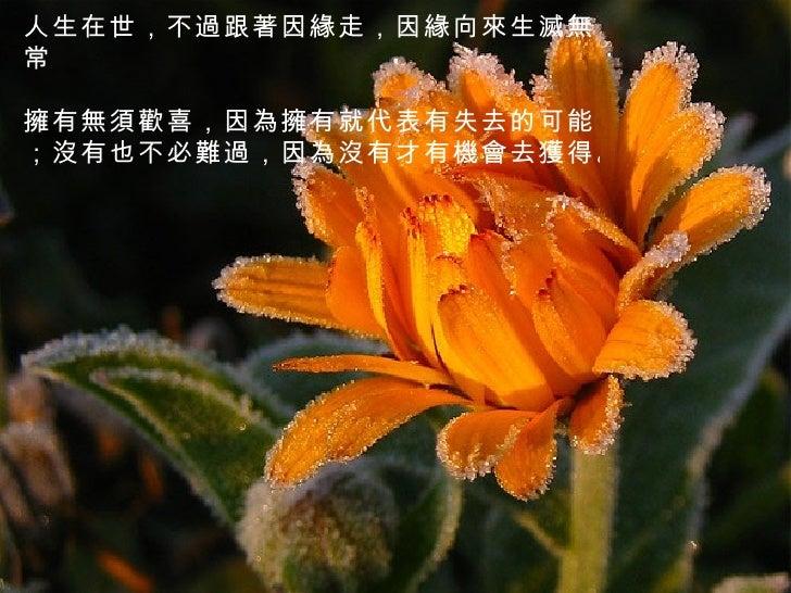 人生在世,不過跟著因緣走,因緣向來生滅無常   擁有無須歡喜,因為擁有就代表有失去的可能;沒有也不必難過,因為沒有才有機會去獲得。