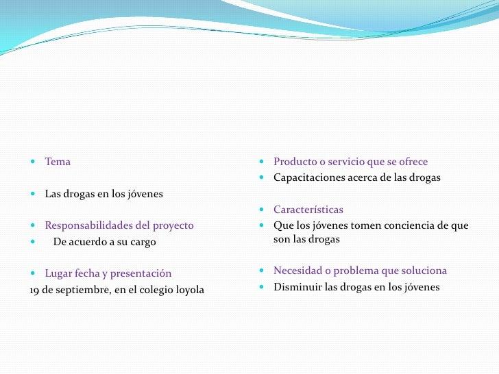 Tema<br />Las drogas en los jóvenes<br />Responsabilidades del proyecto<br />  De acuerdo a su cargo<br />Lugar fecha y pr...