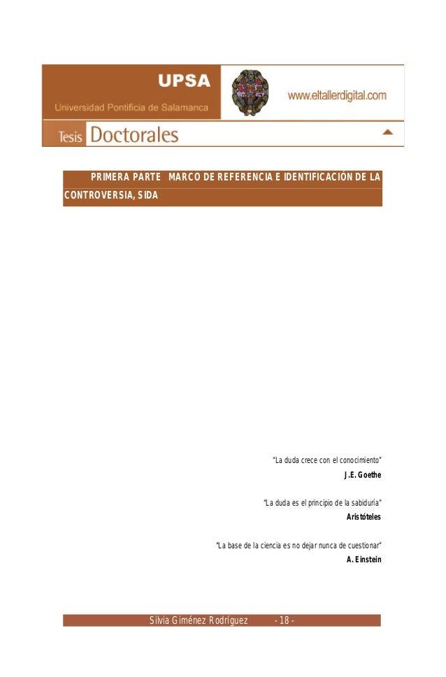 """Silvia Giménez Rodríguez - 18 - PRIMERA PARTE MARCO DE REFERENCIA E IDENTIFICACIÓN DE LA CONTROVERSIA, SIDA """"La duda crece..."""