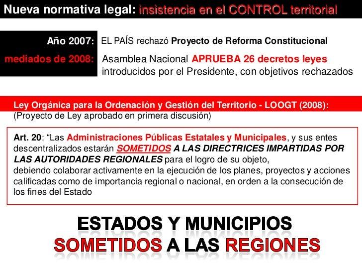 Nueva normativa legal: insistencia en el CONTROL territorial         Año 2007: EL PAÍS rechazó Proyecto de Reforma Constit...