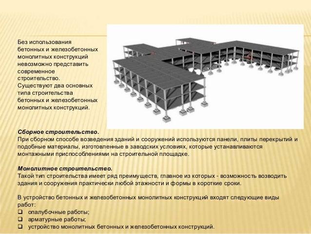 Виды бетона для монолитных конструкций купить бетон 2м3
