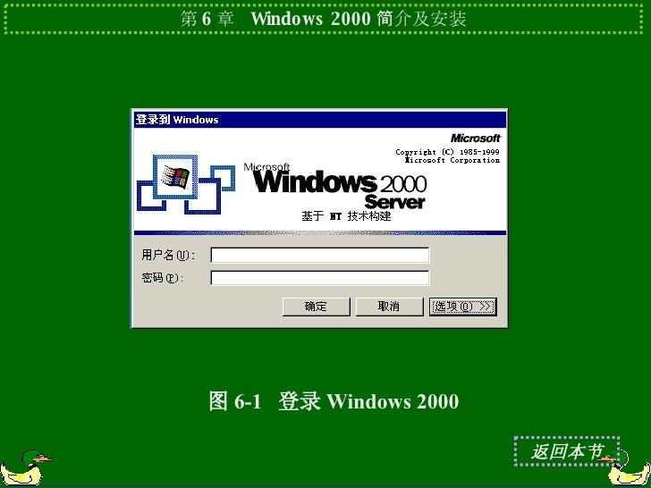 图 6-1  登录 Windows 2000 返回本节