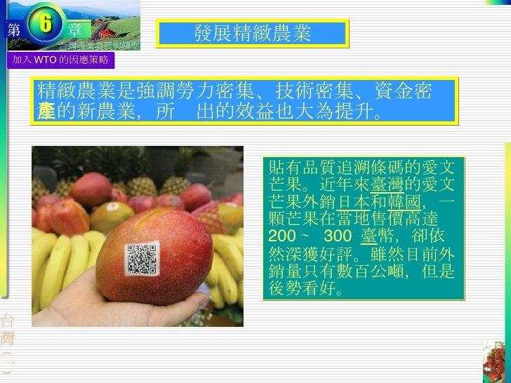 加入 WTO 的因應策略 發展精緻農業 精緻農業是強調勞力密集、技術密集、資金密集的新農業,所產出的效益也大為提升。 貼有品質追溯條碼的愛文芒果。近年來 臺灣 的愛文芒果外銷 日本 和 韓國 ,一顆芒果在當地售價高達  200  ∼  300 ...