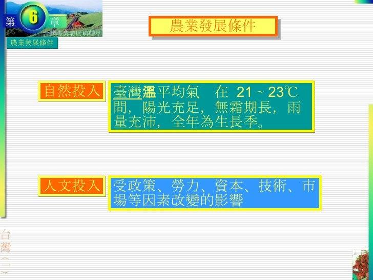 農業發展條件 臺灣 年平均氣溫在  21 ∼ 23℃ 間,陽光充足,無霜期長,雨量充沛,全年為生長季。 農業發展條件 自然投入 人文投入 受政策、勞力、資本、技術、市場等因素改變的影響