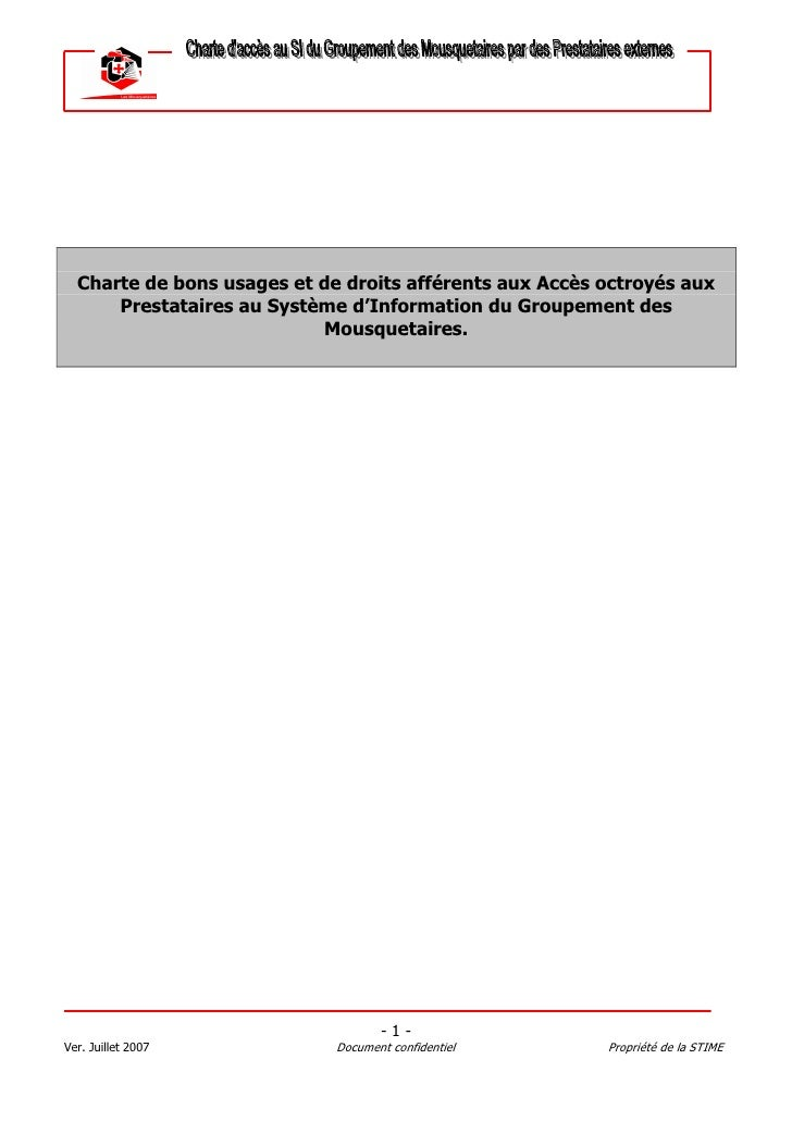 Charte de bons usages et de droits afférents aux Accès octroyés aux       Prestataires au Système d'Information du Groupem...