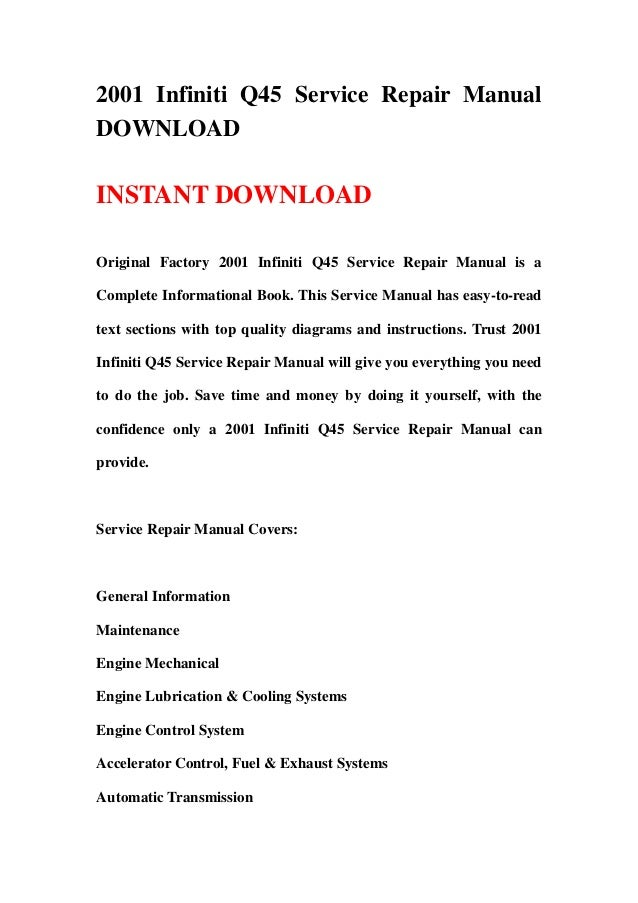 2001 infiniti q45 complete factory service repair manual